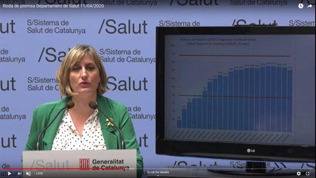 Rueda de prensa telemática de la consellera de Salud de la Generalitat, Alba Vergés, el 11/4/2020