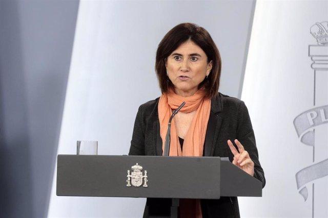 La jefa de Área del Centro de Coordinación de Alertas y Emergencias Sanitarias del Ministerio de Sanidad, María José Sierra, durante una rueda de prensa tras la reunión del Comité de Gestión Técnica del Coronavirus, en Madrid. 8 de abril de 2020.