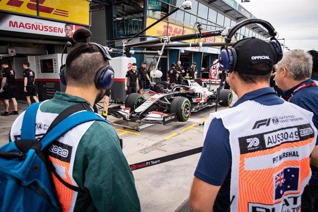 El bólido de Kevin Magnussen con el equipo Haas.