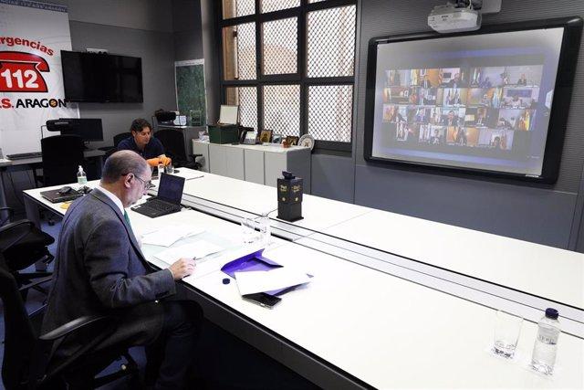 Javier Lambán participa en la videoconferencia de presidentes autonómicos con Pedro Sánchez
