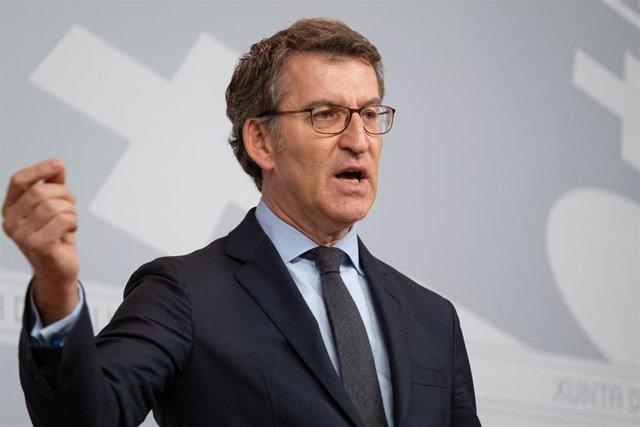 Alberto Núñez Feijóo en la rueda de prensa posterior a la reunión del Consello de la Xunta