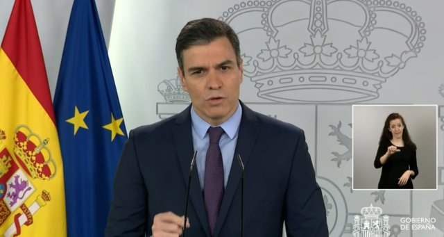 El presidente del Gobierno, Pedro Sánchez, en la rueda de prensa tras la videoconferencia con los presidentes autonómicos.
