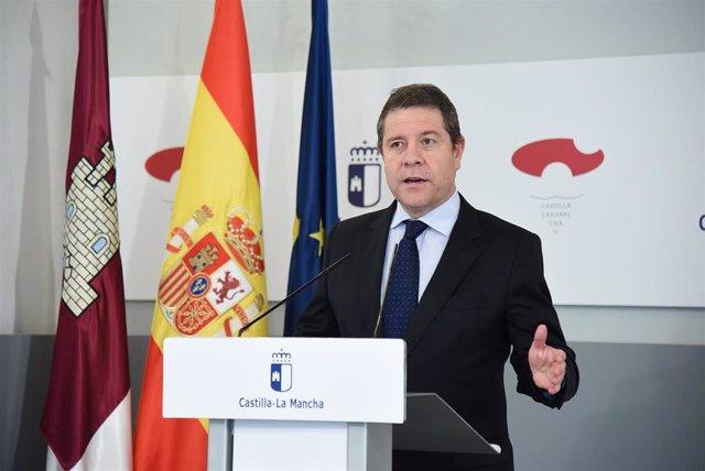 El presidente de Castilla-La Mancha, García-Page, tras la videoconferencia con Pedro Sánchez