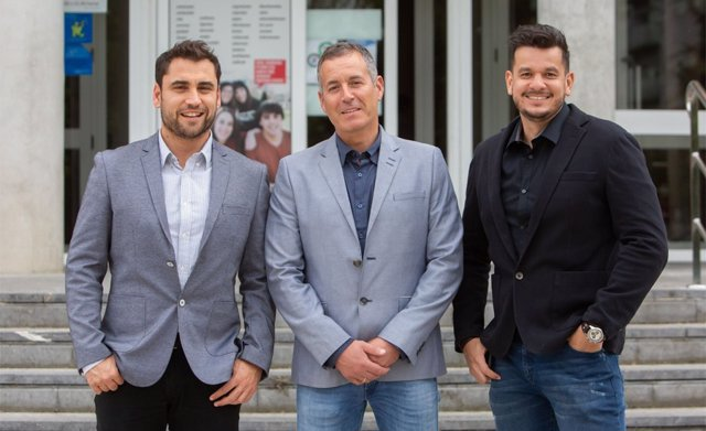De izquierda a derecha, Antonio García-Hermoso (Navarrabiomed e IdISNA), Mikel Izquierdo (UPNA) y Robinson Ramírez (UPNA), en una imagen de archivo.
