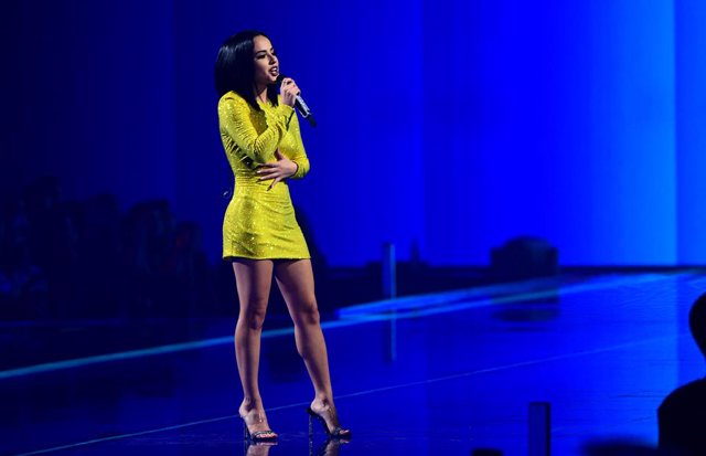 03 November 2019, Spain, Sevilla: Becky G performs during the 2019 MTV Europe Music Awards at the FIBES Conference and Exhibition Centre. Photo: Ian West/PA Wire/dpa
