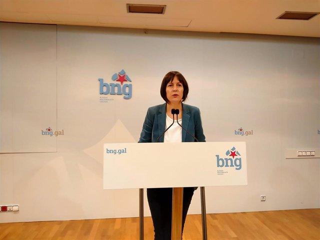 La portavoz nacional del BNG, Ana Pontón, en rueda de prensa este lunes 13 de abril, en plena crisis por el covid-19