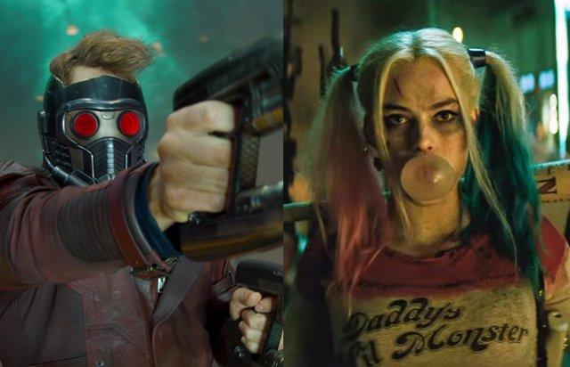 Star-Lord en Guardianes de la Galaxia y Harley Quinn en Escuadrón Suicida