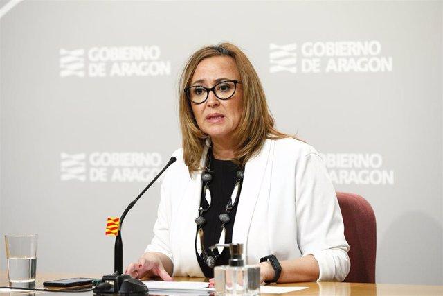 La consejera de Presidencia, Mayte Pérez, en rueda de prensa para informar sobre la actualidad en relación con el coronavirus