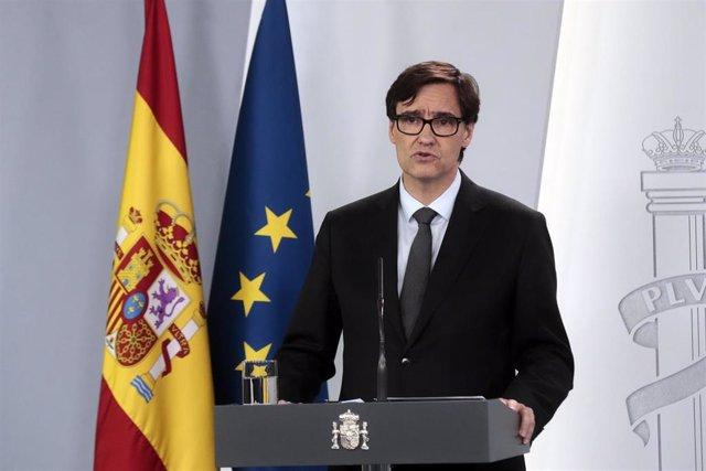 El ministro de Sanidad, Salvador Illa, durante su comparecencia en una rueda de prensa para informar sobre la última hora de la crisis del coronavirus en España, en Madrid (España) a 8 de abril de 2020.
