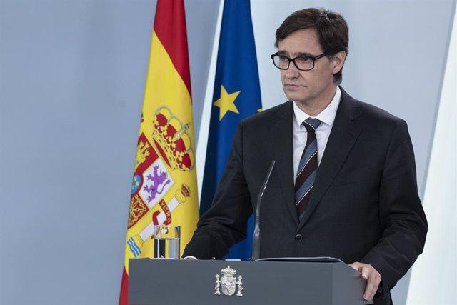 El Ministro de Sanidad, Salvador Illa, comparece ante los medios para informar de las últimas novedades sobre el Covid-19 en España durante la cuarta semana de confinamiento. En Madrid, (España), a 11 de abril de 2020.