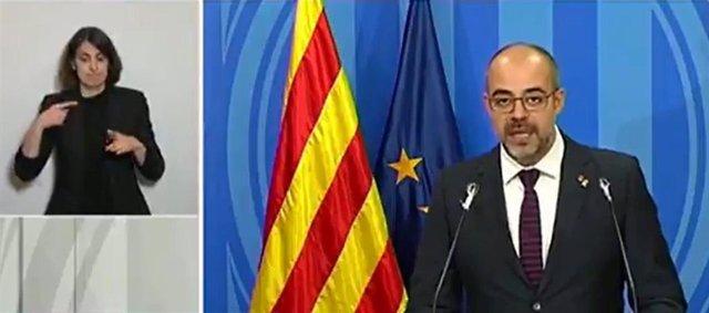 El conseller de Interior de la Generalitat, Miquel Buch, en rueda de prensa telemática sobre el coronavirus