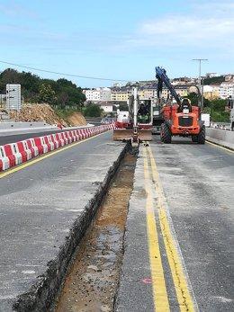 Obras de acceso al polígono de Morás, en Arteixo (A Coruña) tras retomar la actividad empresas no esenciales