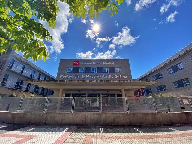 Fachada de la Residencia de Mayores Adolfo Suárez, durante el estado de alarma.