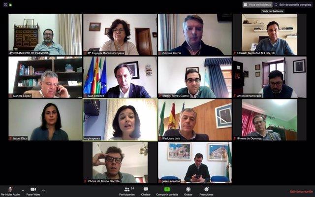 Reunión por videoconferencia del Consejo de Alcaldes del PP de Sevilla.