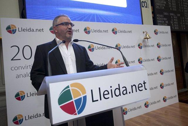 Sisco Sapena, gerente de Lleida.net, en la salida al MAB de Lleida.Net