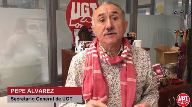 El secretario general de UGT, Pepe Álvarez, en un videocomunicado emitido con motivo de la reactivación de la actividad laboral.