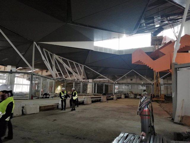 La cúpula entre las estaciones de bus y tren de Logroño podrá estar colocada para fin de julio