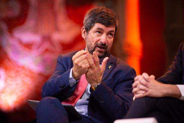El president de la Càmera de Barcelona, Joan Canadell intervé en la presentació del BforPlane, el principal esdeveniment mundial per a la sostenibilitat, en el Palau de la Música, a Barcelona (Espanya), a 30 de gener de 2020.