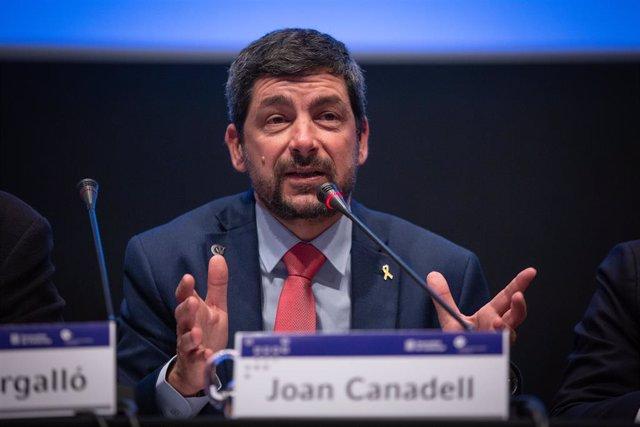 El president de la Cambra de comerç, Joan Canadell durant la seva intervenció per presentarel estudio `Inserció laboral dels ensenyaments professionals 2019, a la Casa LLotja de Mar, a Barcelona (Espanya), a 13 de gener de 2020.