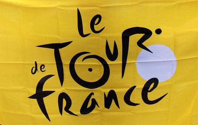 FILED - 07 July 2014, England, London: A general view of the Tour de France logo on a flag. Due to coronavirus restrictions, the Tour de France will not be able go ahead on 27 June as originally planned, organizers said. Photo: David Davies/PA Wire/dpa