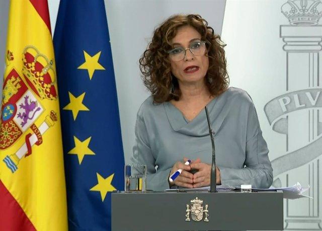 María Jesús Montero, ministra de Hacienda y Portavoz del Gobierno, en la rueda de prensa posterior a la celebración del Consejo de Ministros