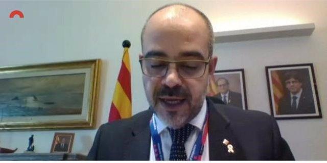 El conseller d'Interior, Miquel Buch, en la comissió d'Interior telemàtica