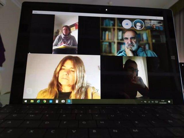 Imagen de la celebración por videoconferencia de la Asamblea Extraordinaria del Consejo Andaluz de Trabajo Social.