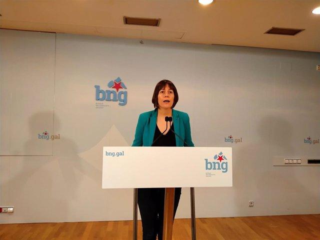 La portavoz nacional del BNG, Ana Pontón, en rueda de prensa este miércoles 15 de abril, en plena crisis por el covid-19
