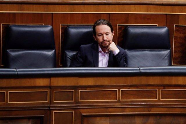 El vicepresidente segundo del Gobierno, Pablo Iglesias, durante la primera sesión de control al Ejecutivo