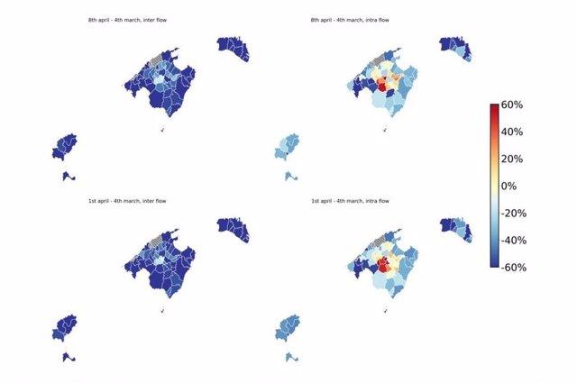 Mapa de diferencias relativas de movilidad.