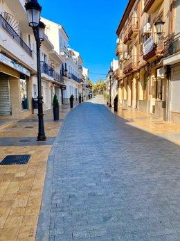 Calle vacía de Lepe (Huelva) durante el periodo de confinamiento.