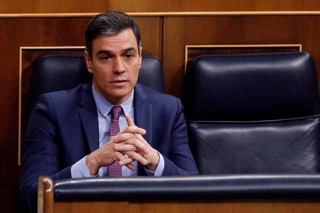 El presidente del Gobierno, Pedro Sánchez durante la primera sesión de control al Gobierno desde que se declaró el estado de alarma el pasado 14 de marzo,