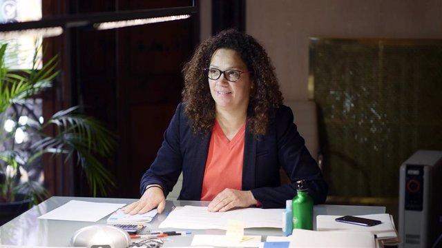 La presidenta del Consell de Mallorca, Catalina Clader, durante la reunión telemática.
