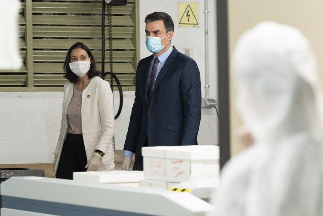Pedro Sánchez y Reyes Maroto, durante su visita a los talleres de confección que El Corte Inglés tiene en Madrid y que ha reconvertido para confeccionar mascarillas de protección
