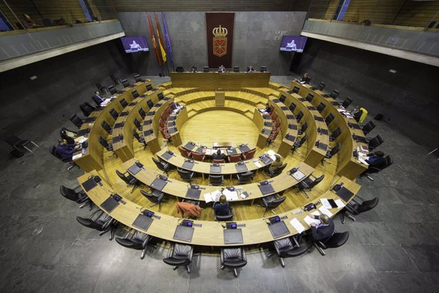 Pleno del Parlamento de Navarra durante la crisis del coronavirus.