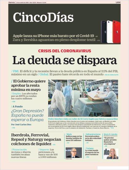 Las portadas de los periódicos económicos de hoy, jueves 16 de abril