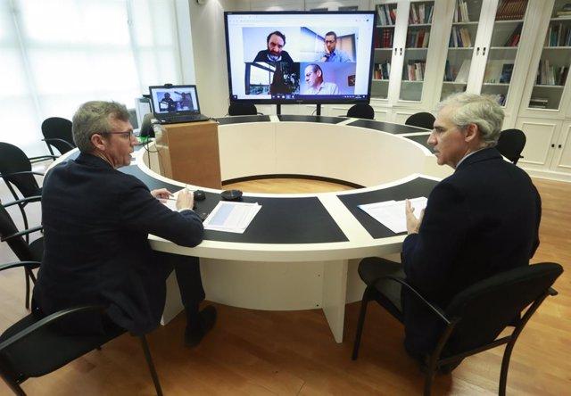 Reunión del vicepresidente de la Xunta, Alfonso Rueda, el conselleiro de Economía, Francisco Conde, con clústeres y asociaciones de empresarios para la redistribución de mascarillas