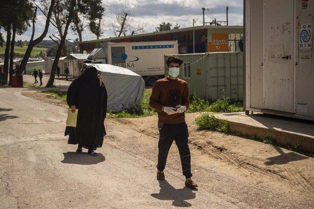 Migrantes en los campamentos de refugiados situados en la región de Ritsona, en el centro de Grecia.