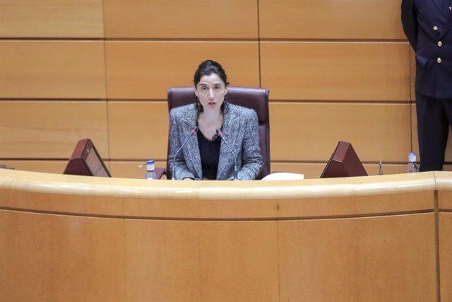 La presidenta del Senado, Pilar Llop, durante el primer Pleno del Senado en su historia sin senadores,