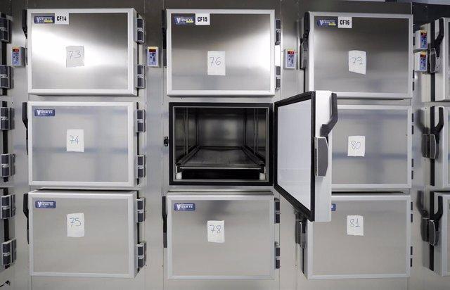 Cámaras funerarias en el edificio conocido como El Dónut, puesto a disposición de las autoridades sanitarias por la Comunidad de Madrid como nueva morgue provisional en las instalaciones de la Ciudad de la Justicia para acoger fallecidos por Covid-19.