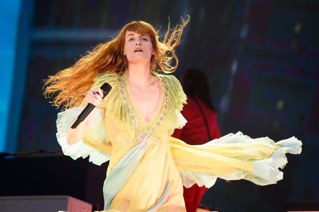 13 July 2019, England, London: British singer Florence Welch of Florence and the Machine rock band performs during the British Summer Time festival at Hyde Park. Photo: Matt Crossick/PA Wire/dpa