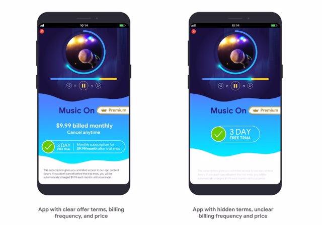 Las apps de Google Play deberán especificar los términos de las suscripciones, p