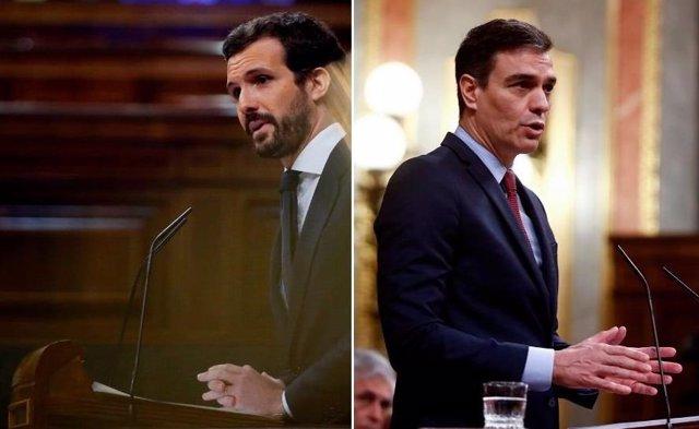 El líder del PP, Pablo Casado, y el presidente del Gobierno, Pedro Sánchez.