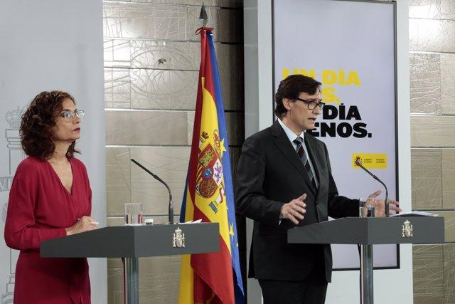 Illa y Montero en la rueda de prensa