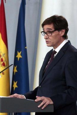 El ministro de Sanidad, Salvador Illa, durante la rueda de prensa posterior al Consejo de Ministros celebrado en Moncloa pasado un mes desde el inicio del estado de alarma decretado por el coronavirus, en Madrid (España), a 14 de abril de 2020.