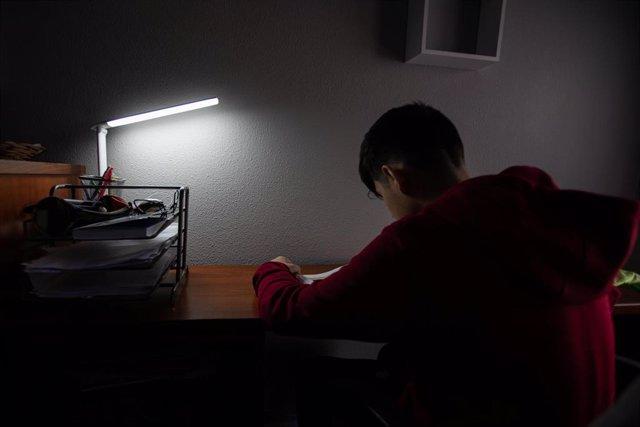 Un niño realiza sus deberes en su habitación durante el confinamiento por el estado de alarma, en Vitoria / País Vasco (España), a 16 de abril de 2020.
