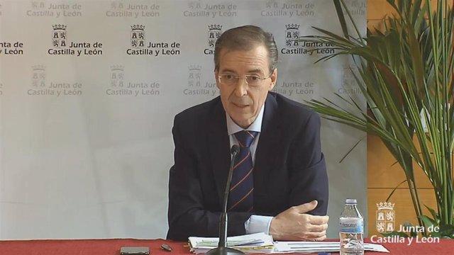 El consejero de Empleo e Industria, Germán Barrios, durante la rueda de prensa de este sábado.