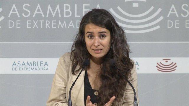 Presidenta del Grupo Unidas por Extremadura, Irene de Miguel, en una imagen de archivo.
