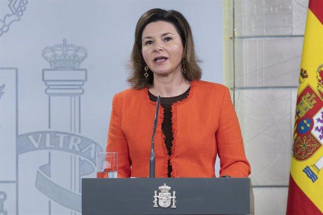 La secretaria general de Transportes y Movilidad, María José Rallo, interviene durante la rueda de prensa posterior a la reunión del Comité Técnico de Gestión del Covid-19, en Madrid (España) a 12 de abril de 2020.