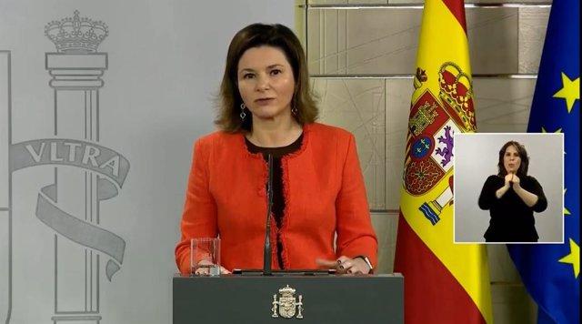 La secretaria general de Transportes, María José Rallo, durante la rueda de prensa telemática del Comité de Gestión Técnica del Coronavirus.